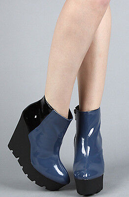 Black Platform Boots Cheap (ASOS Cheap Monday Black Blue Patent Monolit Wedge Ankle Boot size 39)