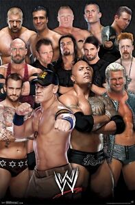 WWE WRESTLING POSTER ~ 15 FACES 22x34 John Cena CM Punk Sheamus Randy Orton Rock