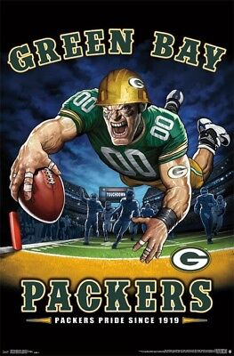 Green Bay Packers Theme (Green Bay Packers PACKERS PRIDE SINCE 1919 End Zone TD Dive NFL Theme Art)