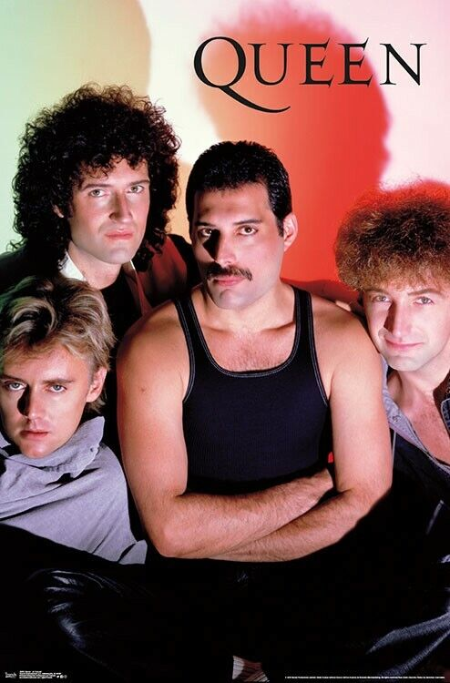 QUEEN 1984 Rock Band Group Wall POSTER - Freddie Mercury, Brian May, ++