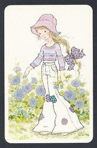 #920.006 Blank Back Swap Card -NEAR MINT- Sarah Kay, Girl in purple top & jeans