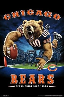 Chicago Bears Nfl End (Chicago Bears BEARS PRIDE SINCE 1920 End Zone TD Dive NFL Theme Art)