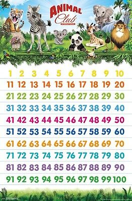 ANIMAL CLUB - 123 COUNTING POSTER 22x34 - LEARNING SCHOOL CHART 15169 ()