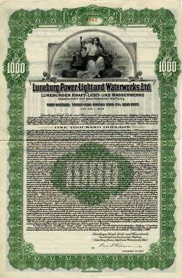 Luneburg Power Light + waterworks  gold bond 1928 + coupons germany Lüneburg