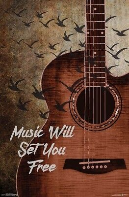 MUSIC WILL SET YOU FREE Inspirational Wall Poster for Guitar Studio, Classroom