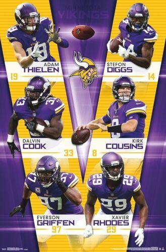 Details About Minnesota Vikings 6 Stars Nfl Action Poster Thielen Stefon Diggs Cousins