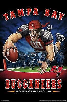 Tampa Bay Buccaneers   End Zone Mascot Poster   22X34 Nfl Football 15998