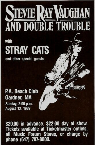 STEVIE RAY VAUGHAN 1989 IN STEP TOUR 1st PRINTING CONCERT POSTER / STRAY CATS