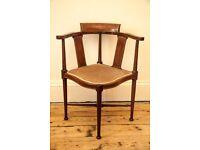 Edwardian Inlaid Mahogany Corner Chair