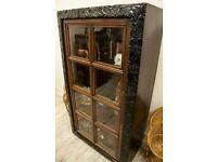 Vintage Oak Ebonised Glazed Bookcase/ Display Cabinet