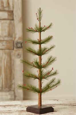 """New Country Primitive Rustic Christmas Old Time RED BERRY FEATHER TREE Pine 21"""""""