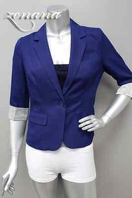 Business Career Women 3/4 to Full Sleeve BUTTON Stripe BLAZER Jacket M/L/XL