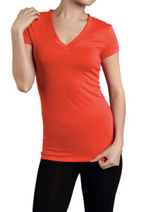 SHORT SLEEVE V NECK Womens Basic Plain T shirt Top Tight Fitted S M L