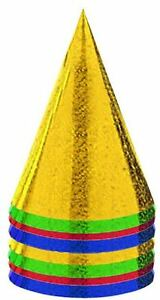 8 Foil Party Hats New Years Birthday Christmas Colour Prismatic Cone Decorations