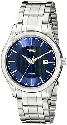 Timex Men's Elevated Classics 30m Blue Dial Stainless Steel Watch T2N9769J