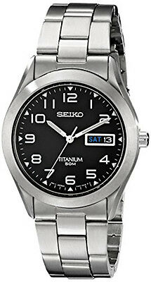 Seiko Men's Black Dial Titanium Silver Watch SGG711