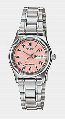 Casio Women's Silver Tone Rose Gold Dial Stainless Steel Casual Watch LTPV006D-4