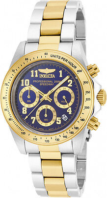 Invicta Men's Speedway Stainless Steel Chronograph Gold, Blue Dial Watch 17028