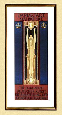 AUSSTELLUNG DER KÜNSTLERKOLONIE 1901 PLAKAT XL-Faksimile 135 im Goldrahmen