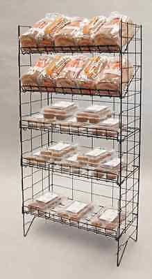 Floor Adjustable Wire Shelf Display Rack - 5 Tier Black