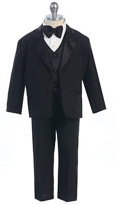 Boys Black White Tuxedo Formal Party Wedding Toddler Kids Size 2T-4T Boys 5-20 S ()