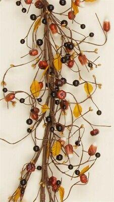 "Primitive Mini Pumpkins Candy Corn Twig Garland Fall Autumn 54"""