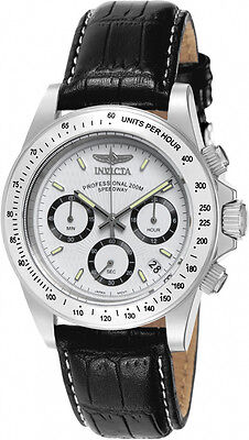 Invicta Men's Signature Chrono Quartz Stainless Steel Black Leather Watch 7031