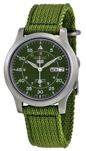 Seiko 5 Men's Automatic Day/Date 100m Stainless Steel Green Canvas Watch SNK805