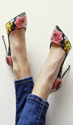New $695 Dolce&Gabbana Peony Floral Print Pointy Toe Pump 37/6.5