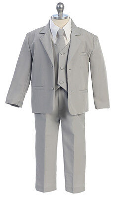 Boys Suits Kids Children Formal Dress Party Toddler Gray Size S-XL 2T-4T 5-20 S (Boys Suits Grey)