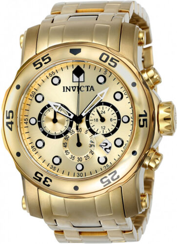 Invicta Men 48mm Pro Diver Scuba 18k Gp Chronograph Gold Stainless Watch Set