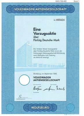 VW Volkswagen Aktie Vorzugsaktie über 50 DM 1986. Volkswagen