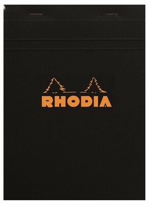 Rhodia Staplebound - Notepad - Black - Graph - 80 Sheets - 4 X 6 - New R132009