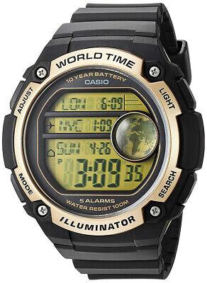 Casio Men's Digital Quartz World Map 100m Black Resin Watch AE3000W-9AV