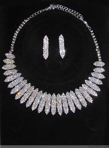 New Wholesale Fashion Jewellery Prom Bridal Silver ptd Rhinestone Necklace Set