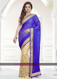 Buy Elegant Party Wear Chiffon Embroidered Saree online