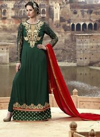 Buy Designer Graceful Green Party Wear Georgette Embroidered Long Suit