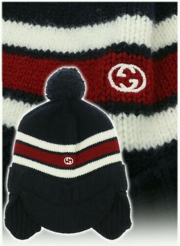 48adec9744d24 ... NWT NEW Gucci kids boys navy or gray wool knit hat ear flaps red web S