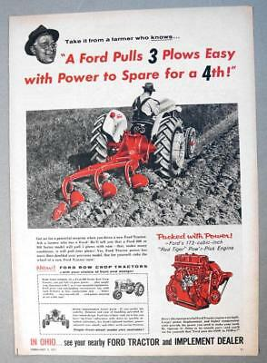 10x15 Original 1957 Ford 900 Ad PULLS 3 PLOWS EASY .. POWER TO SPARE FOR A 4TH ()