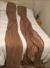 Extra Long 300cm Voile Curtain Panels - Coffe