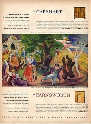 1946 Farnsworth PRINT AD Radio Bohemian Acrobat Tibor Gergely ART