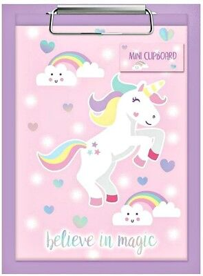 UNICORN NOTEPAD & CLIPBOARD PAD magic kids girls party bag filler toy gift