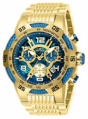 Invicta Men's Speedway 100m Blue Dial Gold Tone Stainless Steel Watch 28011