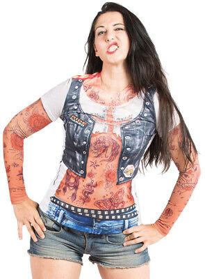 z Ärmel Biker Sublimated Halloween Kostüm T-Shirt F122156 (Halloween Tattoo ärmel T-shirts)
