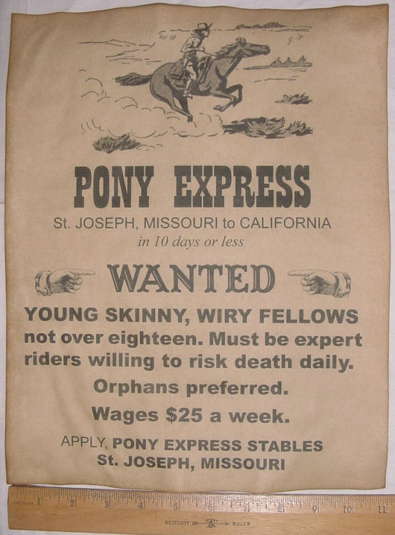 BIG 11 x 14 Pony Express Riders Wanted Ad, old west, western