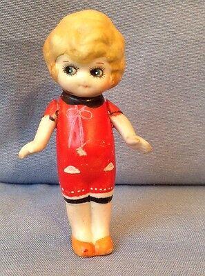 """Vintage Bisque Doll Googly Eyed Flapper Kewpie 3.25"""" Japan painted romper"""