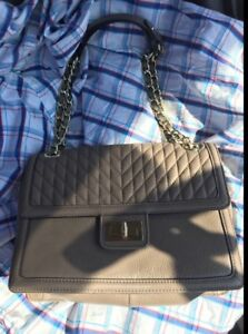 Brand New Karl Lagerfeld Large Leather Bag with Gold Accents