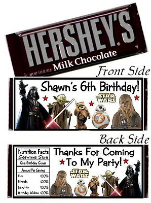 12 Star Wars Birthday Party Candy Hershey Bar Wrappers Favors