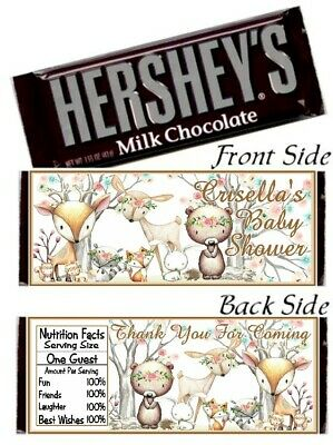 12 Woodland Animals Baby Shower Birthday Party Hershey Candy Bar Wrappers Forest Animated Birthday Party
