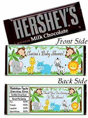 12 Jungle Safari Animal Baby Shower OR Birthday Party Candy Hershey Bar Wrappers